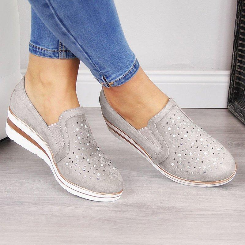 Women's Rhinestones Decorated Loafers