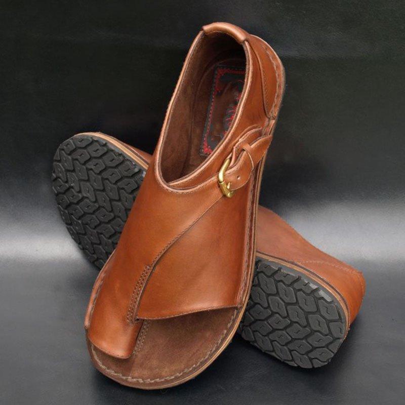 Women's Genuine Leather Flat Sandals