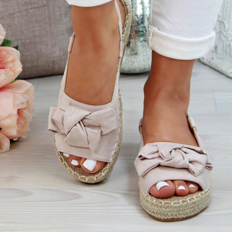 Women's Bow Design Canvas Sandals