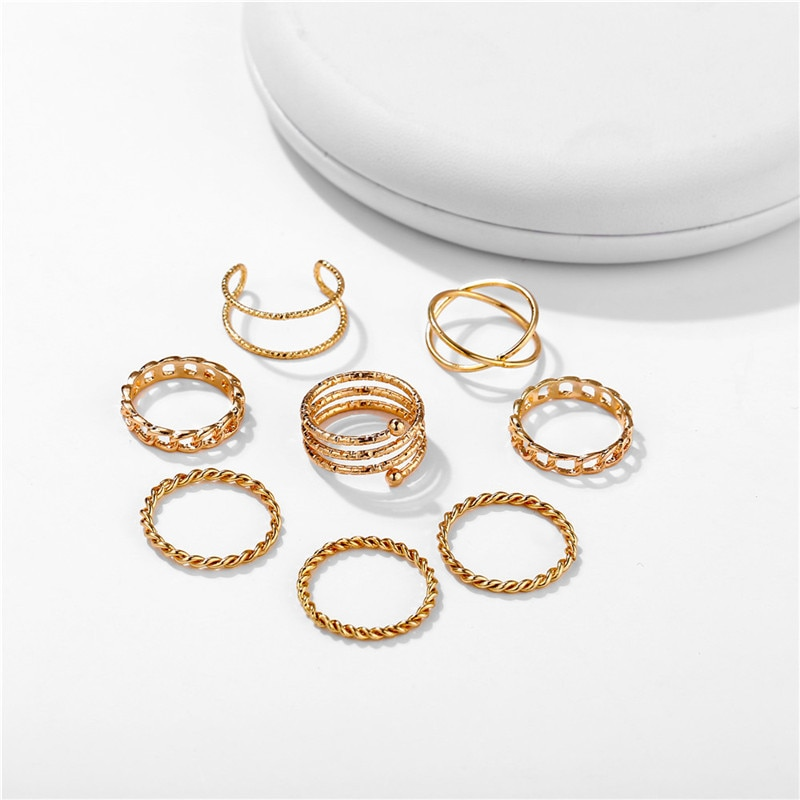 Women's Gold and Silver Minimalistic Rings 9 pcs Set
