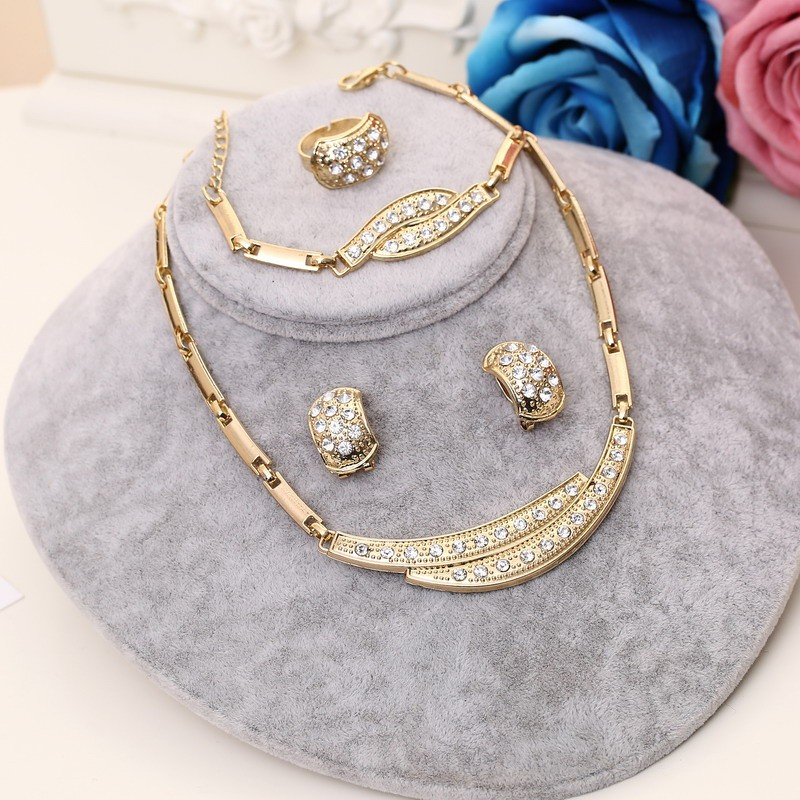 Wedding Crystal Gold Jewerly Set