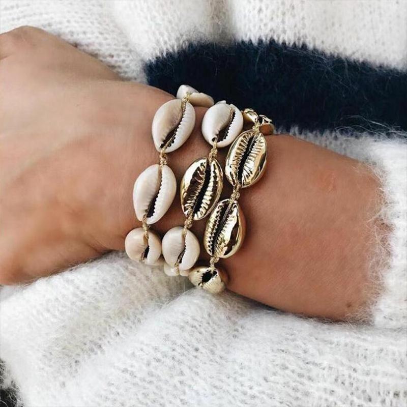 Women's Conch Shaped Multi-Layered Choker & Bracelet