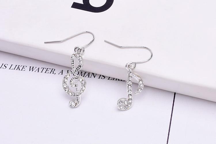 Women's Asymmetric Note Shaped Crystal Earrings