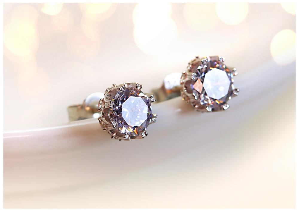 Women's Silver Earrings with Zircon Stone