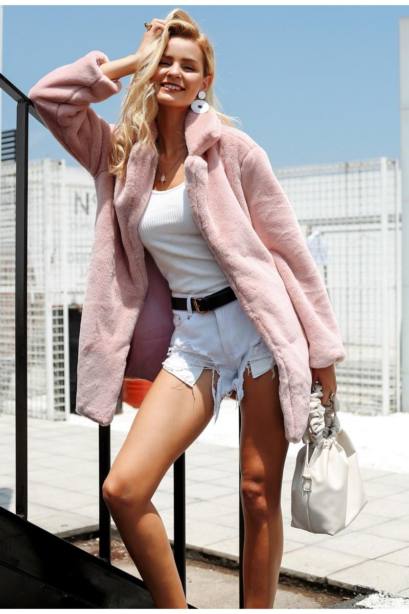 Women's Elegant Pink Fur Coat