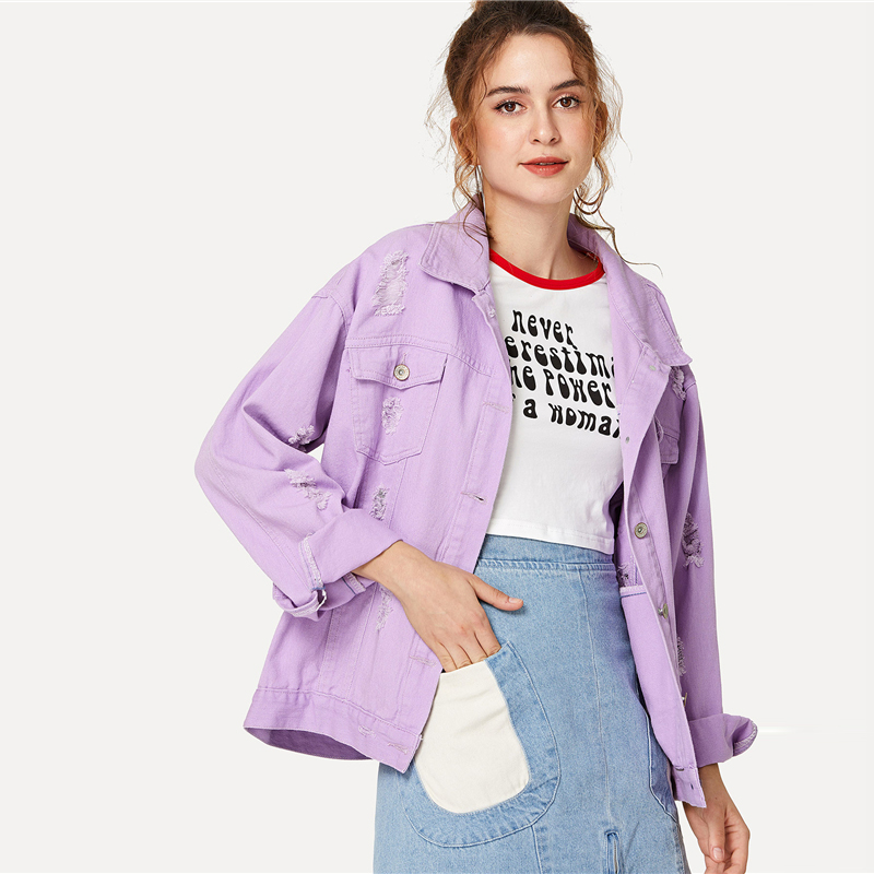 Oversize Lilac Color Ripped Denim Women's Jacket