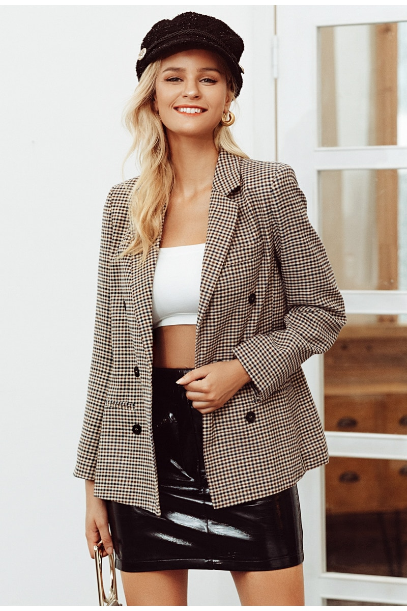Women's Fashion Double Breasted Plaid Jackets