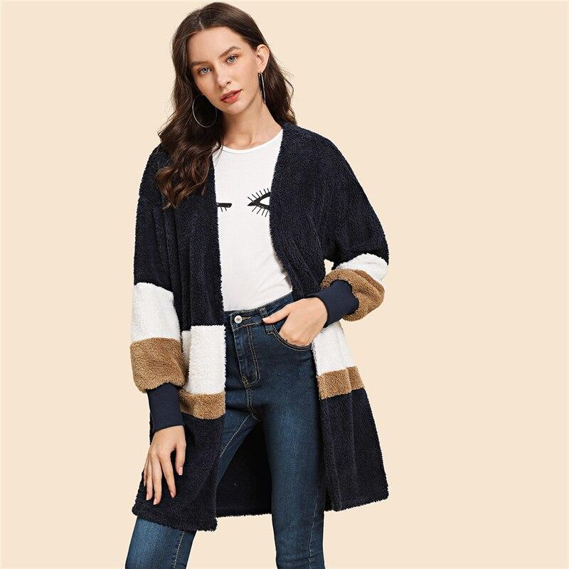 Women's Striped Design Open Coat