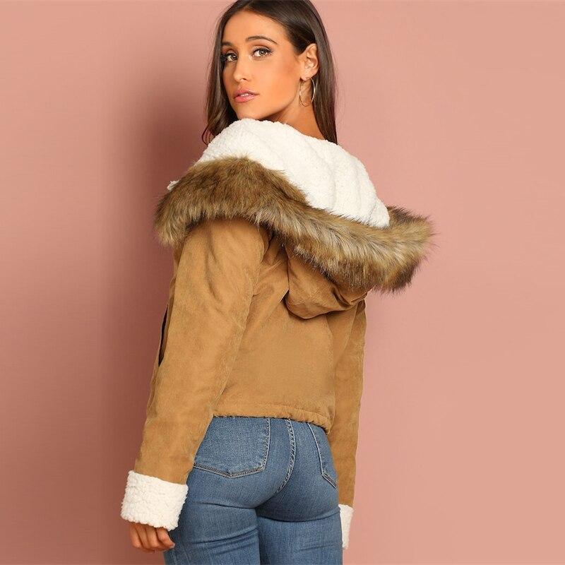 Women's Fur Brown Hooded Coat