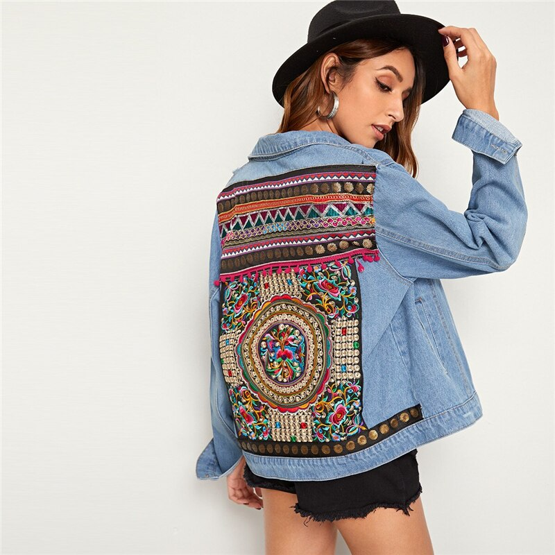 Embroidered Denim Jacket for Women