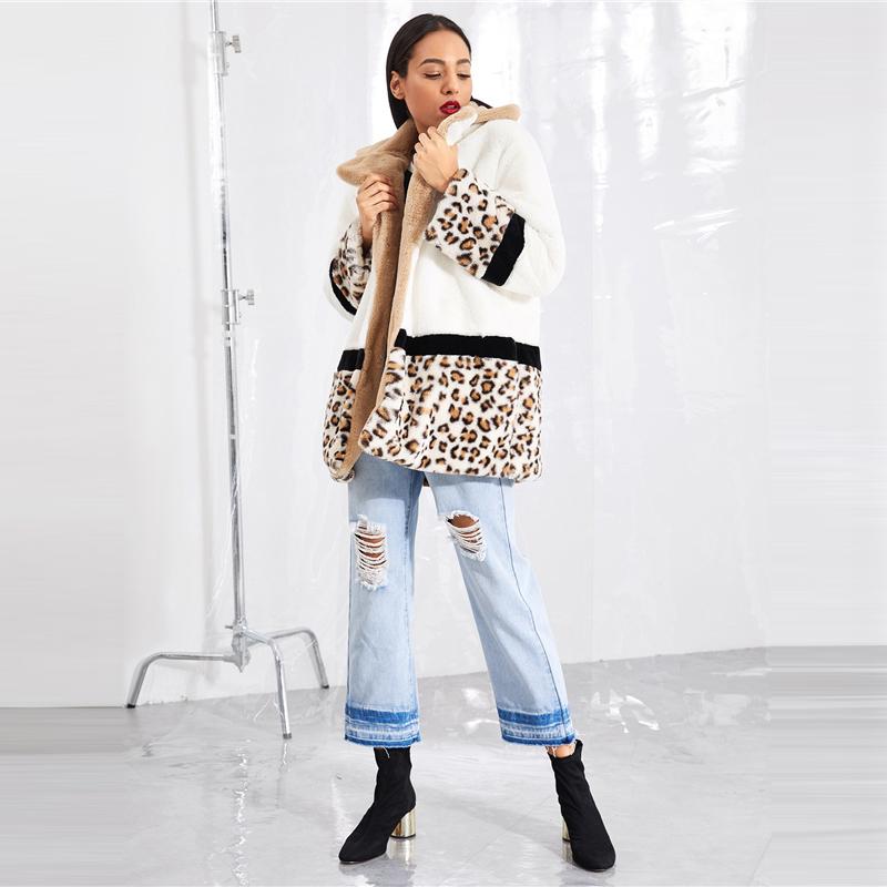 Women's Leopard Print Faux Fur Coat