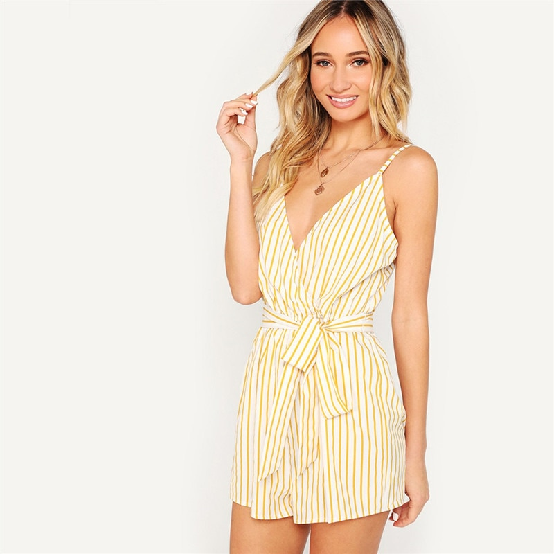 Striped Wrap Cami Romper for Women