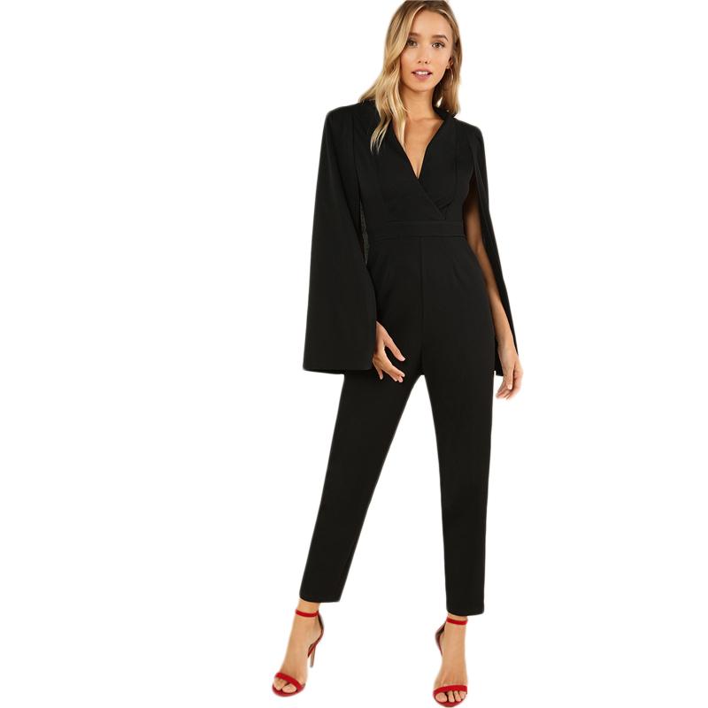 Women's Black Elegant Cloak Sleeve Jumpsuit