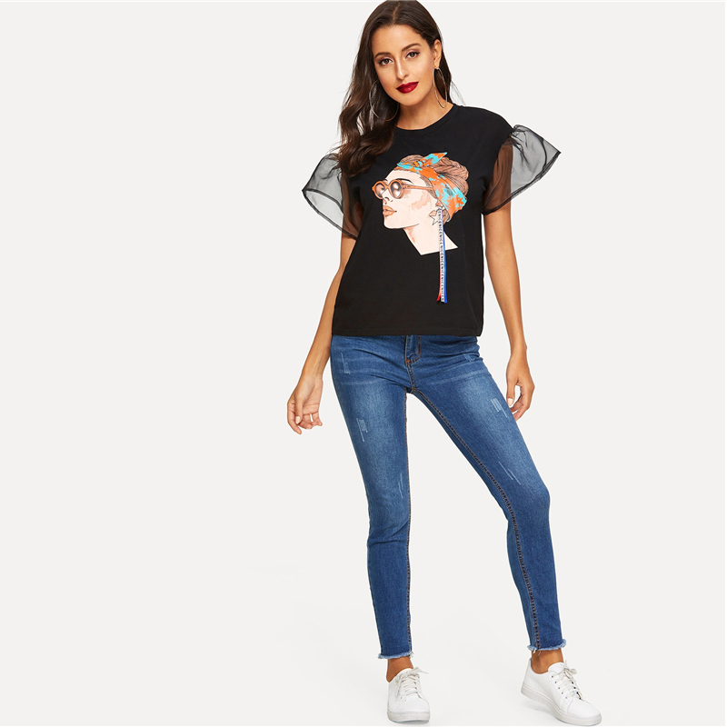 Women's Black T-Shirt with Mesh Sleeves