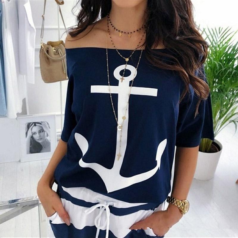 Women's Off Shoulder Anchor Printed