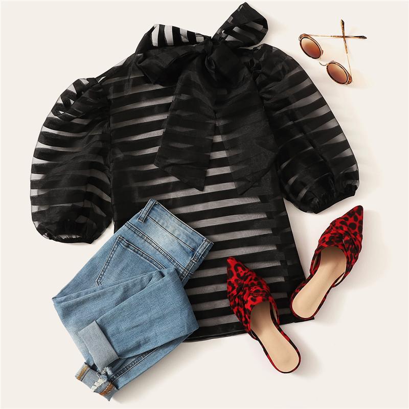 Women's Striped Sheer Design Black Blouse