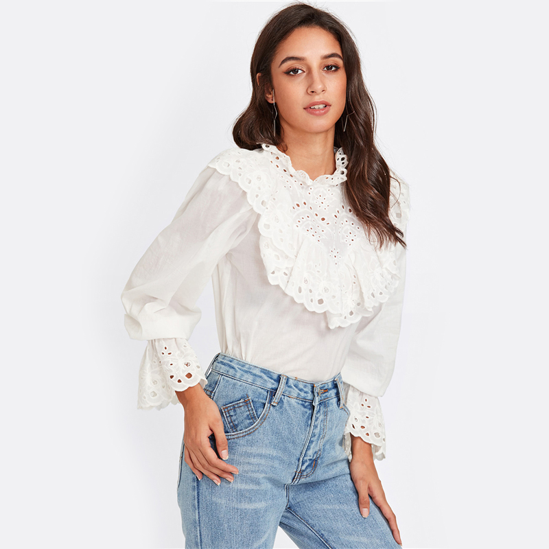 Women's Embroidered Ruffle Design White Blouse