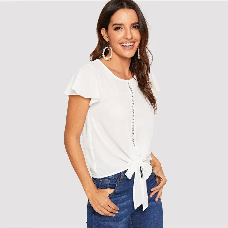 Women's Flutter Sleeve Laceing Design White Blouse