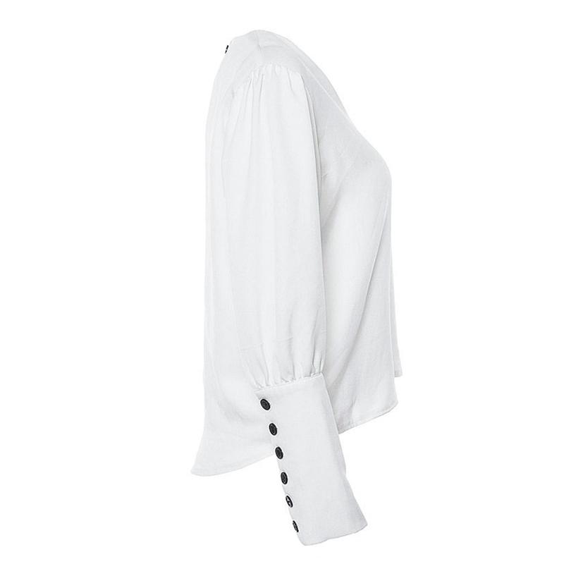 Women's V-Neck Puff Sleeved Back Closure Blouse