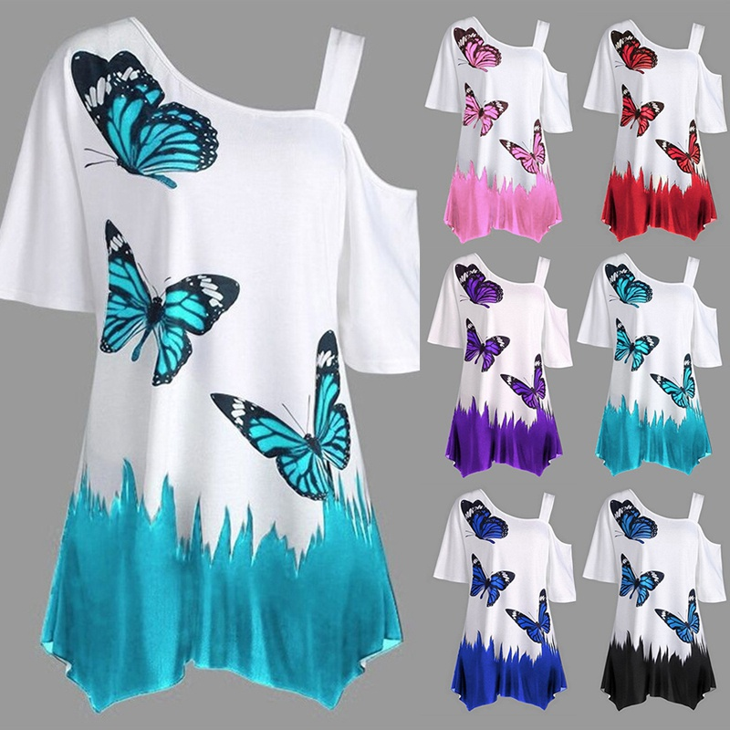 Women's One Shoulder Butterfly Printed Blouse