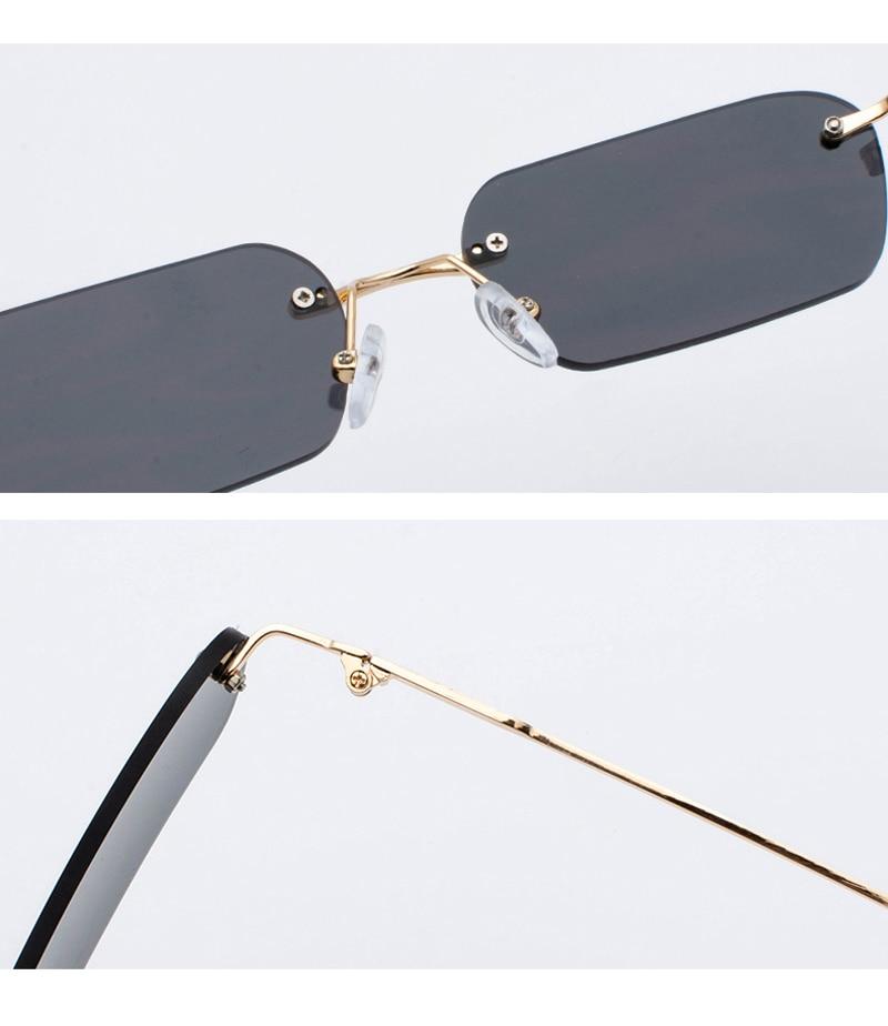 Women's Rectangle Design Rimless Sunglasses