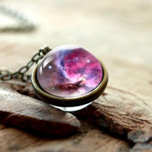 Round Shaped Space Themed Pendant Necklace