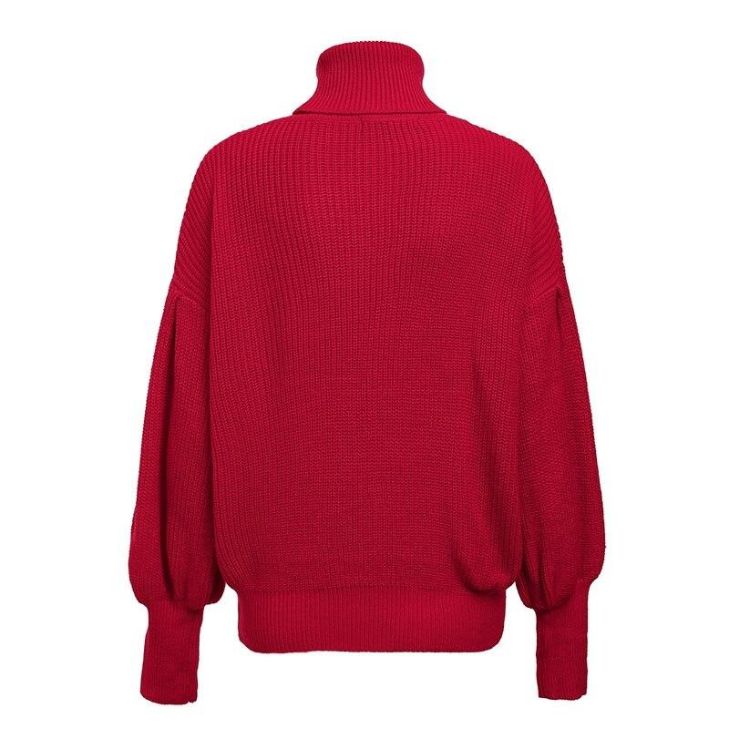 Women's Turtleneck Knitted Lantern Sleeved Sweater