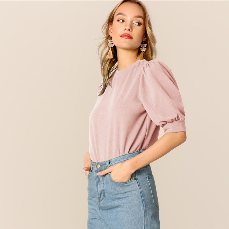 Women's Casual Style Puff Sleeve Blouse