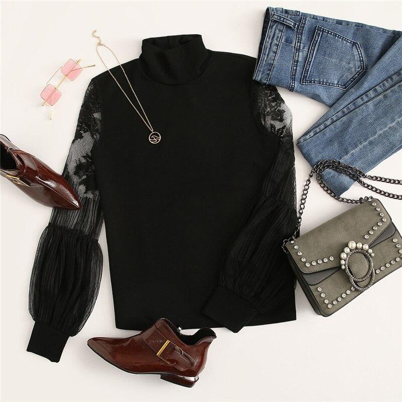 Women's Lace Inserts Design Black Blouse