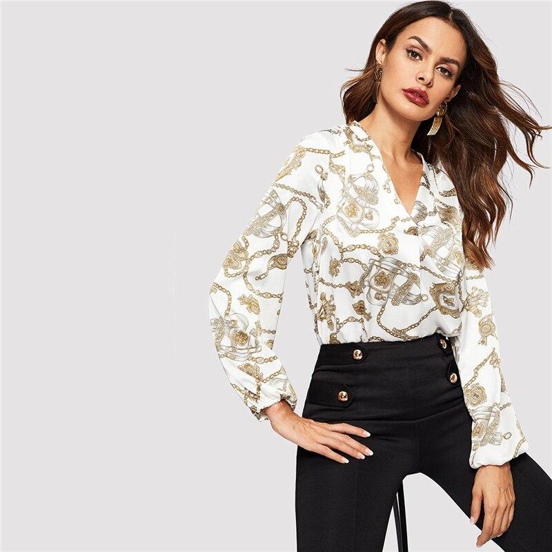 Women's Chain Print White Blouse