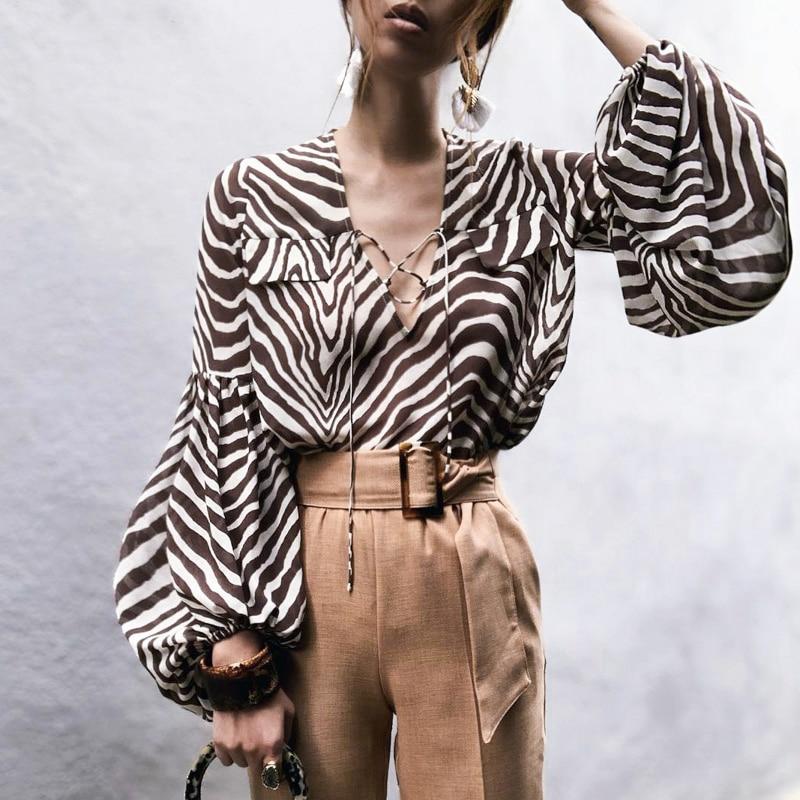 Classic Zebra Stripe Printed Blouse