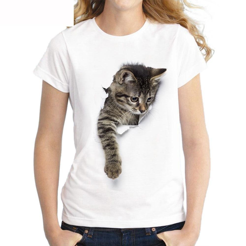 Women's Cat Printed T-Shirt
